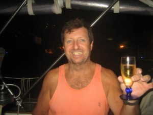 Galen Toasts our Arrival in Tortola