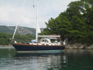 Destiny Moored to Shore in Rab