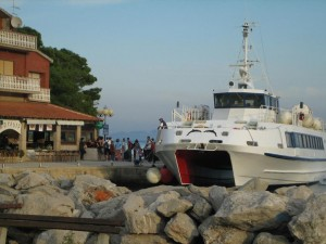 Bozava Ferry arrives