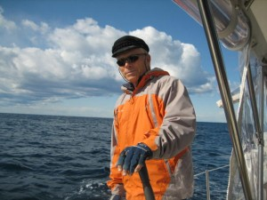 Fall sailing brings gloves and Greek fisherman's hat