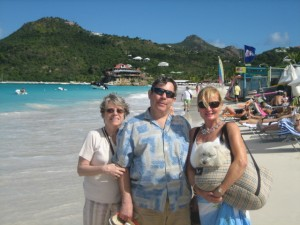 Here I am at St. Jean Beach in St. Bart with Auntie Susie and Richard