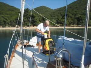 Anchored in Skhoinos Bay on Ithaca