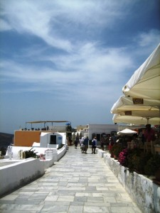 A marble sidewalk runs from one end of Oia to the other--mid-day it is deserted