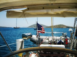 Anchored in Astipalaia. . .one of several times!