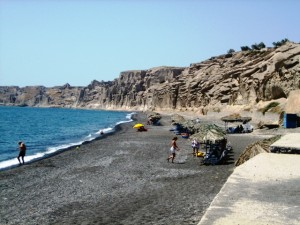 Black sand beach near marina