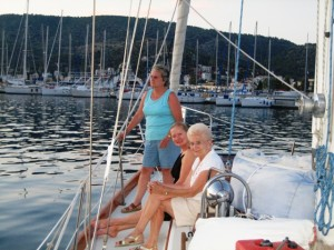 "The ""girls"" watch sunset in Poros"
