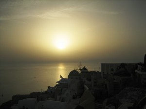 Hazy Santorini Sunset