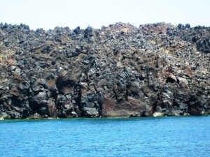 Lava rock makes up the volcanic plug in the center of the caldera