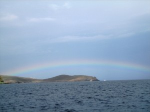 Our passage to Syros began with a rainbow