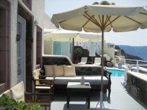 Our private terrace at Delfini Villas adjacent to pool