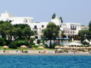 Upscale resorts dot the coast of Kos