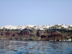 Fira from sea level looks like frosting on the rim