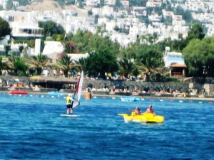 Windsurfers & paddle boats share the water
