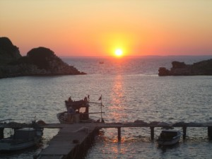 Sunset over Old Knidos Harbor