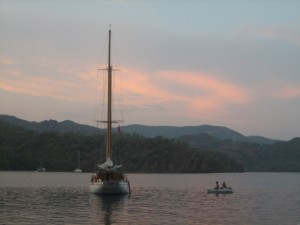 Sunset at Kuyulu Buku--we were attacked by bees in this anchorage