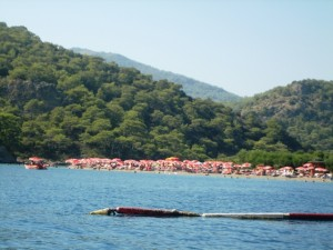 A floating barricade keeps all but small boats out