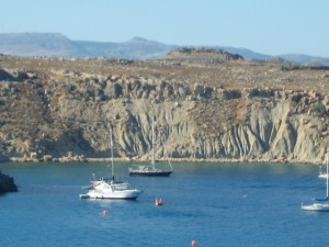 Destiny at anchor in Lindos harbor