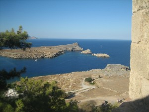 Islands protecting harbor seen from castle