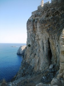 The acropolis sits adopt sheer cliffs