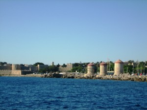 Windmills & Fortifications greet our arrival in Rhodes