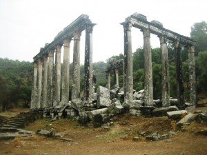 Rain drenched Temple of Zeus