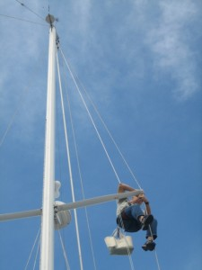 Kent checked the rigging. . .