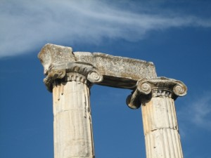 Many pillars of the temple still stand. . .
