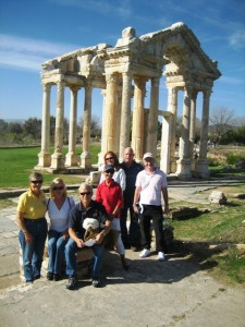 Our travel group in front of the elaborate tetraplyon. . .