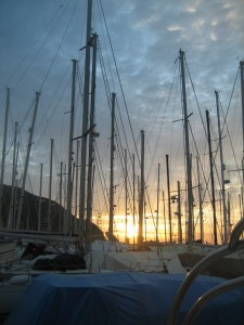 Sunrise among the many masts.