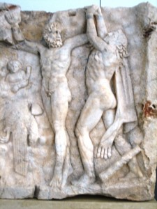 and warring gods are captured in the marble panels.