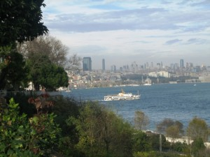 From the palace you see modern high rises of Istanbul.