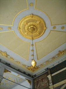 Inside the palace gold leaf abounds. . .