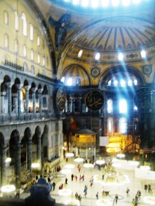 The interior of Hagi Sophia is of grand scale and. . .