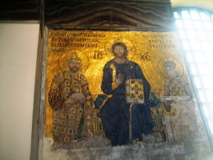 has beautiful gold mosaics that were once covered with plaster.