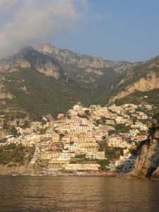 In the morning Positano was bathed in sunlight.