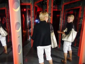 "Friend Jean took this picture as we were ""trapped"" in a mirror maze at the Angry Birds in Space exhibit."