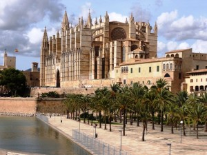 Palma's Gothic Cathedral is surrounded by lush gardens, walkways and fountains. . .