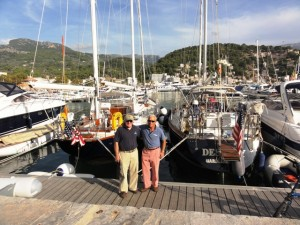 where we met Pat Kelley on his Hinckley Southwest 50 yawl. . .two flag blue boats with American flags caused quite a stir in Soller.