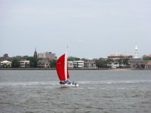 Charleston makes a stunning backdrop for a pleasure boat. . .