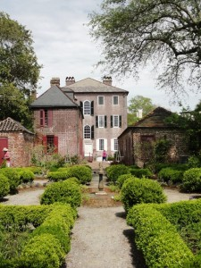 This is a view of the house where Washington slept froom the formal garden. . .