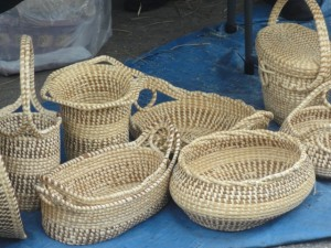 Seagrass baskets are available on Market Street.