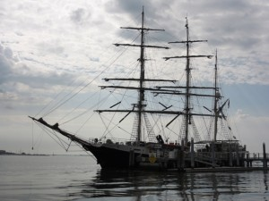 training ships like this Swedish square rigger docked at the Maritime Center. . .